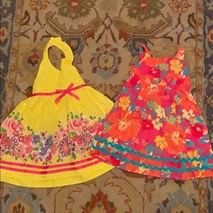 Two 18mo sundresses in yellow/orange/pink florals